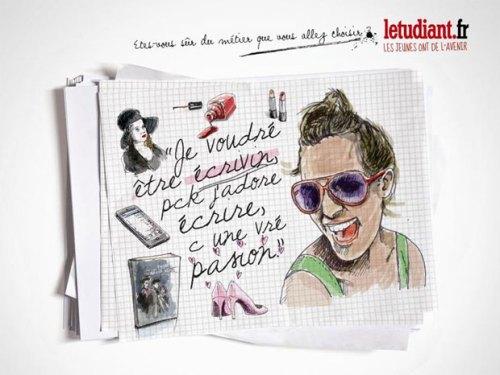 """Publicité L'Etudiant: La fille qui veut devenir """"écrivin"""""""