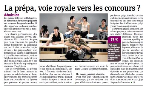 La prépa, voie royale vers les concours? - Metro 12/03/2012