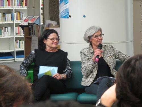 La philosophe Geneviève Fraisse et Claudie Haigneré, la présidente d'Universcience, première femme française astronaute